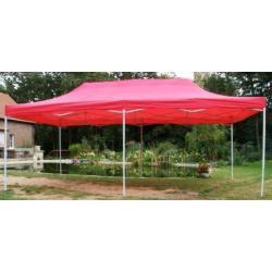 Zahradní párty stan DELUXE nůžkový - 3 x 6 m červená