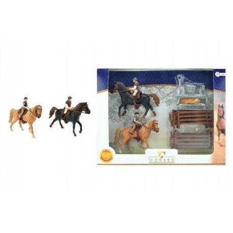 Sada kůň 2ks + žokejové s doplňky farma plast v krabici 37x28x5cm