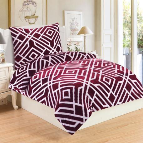 Mikroplyšové ložní prádlo LABYRINT VÍNOVÝ