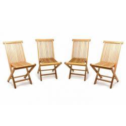 Sada 4 kusů - zahradní skládací židle DIVERO - týkové dřevo