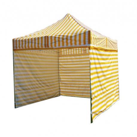 Zahradní párty stan PROFI STEEL 3 x 3 - žluto-bílá pruhovaná