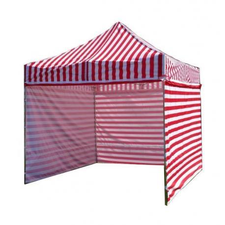 Zahradní párty stan PROFI STEEL 3 x 3 - červeno-bílá pruhovaná