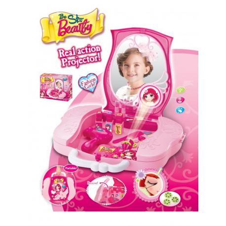 Hrací set G21 Dětský kosmetický kufřík s příslušenstvím s projekcí