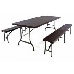 Zahradní set 2 lavice a stůl v ratanovém designu - hnědá