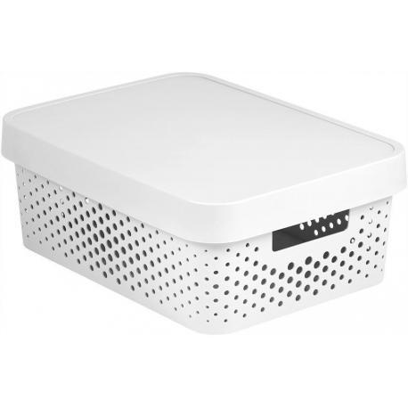 Úložný box INFINITY DOTS 11L - bílý
