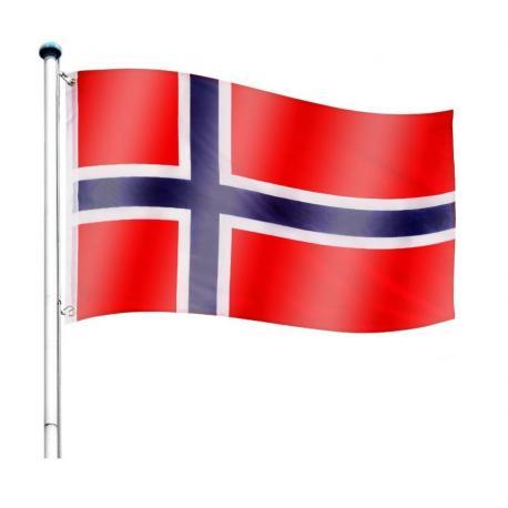 Vlajkový stožár vč. vlajky Norsko - 650 cm