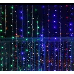 Vánoční osvětlení - světelný závěs - 3x6 m barevná 600 LED