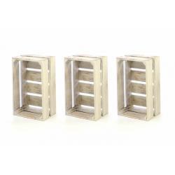 Sada dřevěných bedýnek VINTAGE DIVERO - 3 ks bílá
