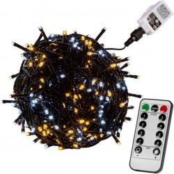Vánoční osvětlení 20m - teple/studeně bílá 200LED + ovladač