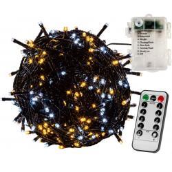 Vánoční osvětlení 10m - teple/studeně bílé 100LED na BATERIE