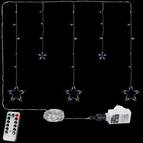Vánoční řetěz - hvězdy - 61 LED teple/studeně bílá + ovladač
