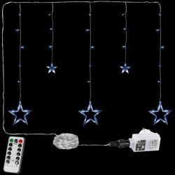 Vánoční řetěz - hvězdy - 61 LED studená bílá + ovladač