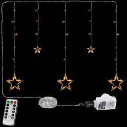 Vánoční řetěz - hvězdy - 61 LED teple bílá + ovladač