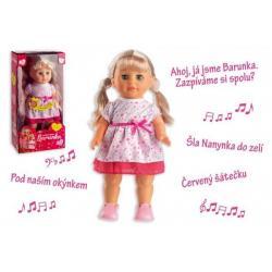 Panenka Barunka chodící a zpívající plast 42cm na baterie se zvukem v krabici 21x44x11cm