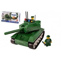 Stavebnice Cheva 49 Tank plast 247ks v krabici 35x19x9cm