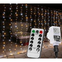 Vánoční světelný závěs - 6x3 m, 600 LED, teple /studeně bílý