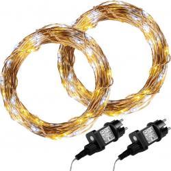 Sada 2 kusů světelných drátů 200 LED - teplá/studená bílá