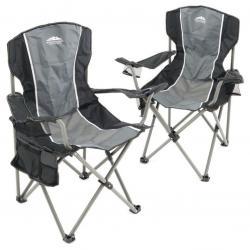 Sada 2 ks skládacích židlí - šedá, černá
