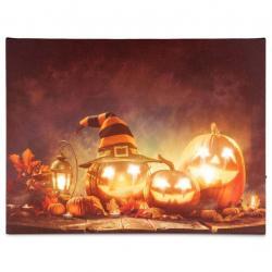 Nástěnná malba Happy Halloween - 8 LED, 30 x 40 cm