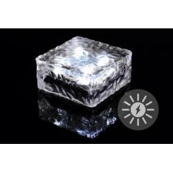 Venkovní solární osvětlení - skleněná kostka - bílá 9,5 x 9,5 x 4,5 cm
