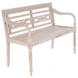 DIVERO 2-místná zahradní lavice - 119 cm, teak, bílá shabby
