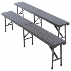 Sada 2 ks sklopných lavic - antracit, 180 cm