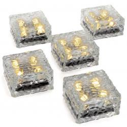 Sada 5 skleněných solárních cihliček - 4 LED, teplá bílá