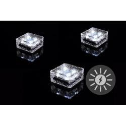Sada 3 ks solárního osvětlení - skleněná kostka - bílá