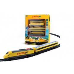Vlak žlutý RegioJet s kolejnicemi 18ks plast se zvukem a světlem v krabici 38x43x6cm