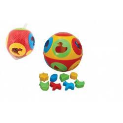 Vkládačka míč plast průměr 17cm v síťce - 12m+