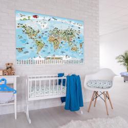 Dětská vzdělávací mapa světa 140 x 100 cm - španělský jazyk