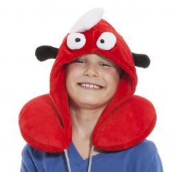 Dětský cestovní polštář s kapucí - červený rak