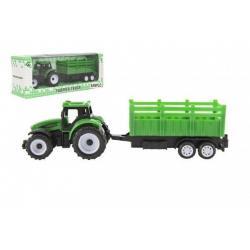 Traktor s vlekem plast 21cm na volný chod 23x9x6cm