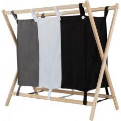Koš na prádlo se 3 přihrádkami,  75 x 40 x 72 cm