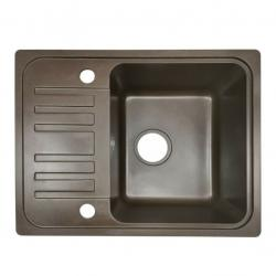 Granitový dřez s odkapávačem, hnědý, 32 x 19 x 39 cm