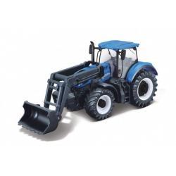 Traktor Bburago s nakladače Fendt 1050 Vario/New Holland kov/plast 16cm 2 druhy v krabičce 21x11x8cm