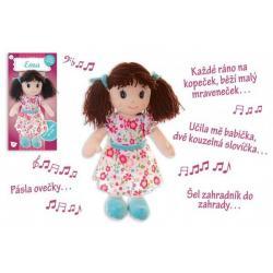 Panenka Ema hadrová plyš 40 cm česky mluvící a zpívající na kartě v sáčku 0+