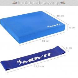 Balanční polštář s gymnastickou gumou - modrá