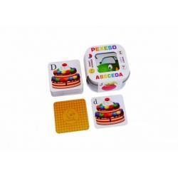 Pexeso Abeceda 64 karet v plechové krabičce 6x6x4cm Hmaťák