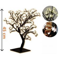 Dekorativní LED strom s květy, teple bílý