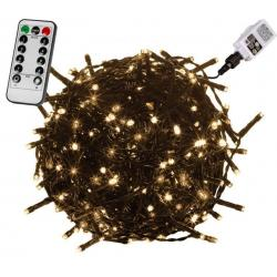 Vánoční osvětlení 40 m,400 LED,teple bílé, zel.kabel,ovladač