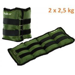 MOVIT zátěžové manžety, 2 x 2,5 kg zelená