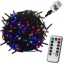 Vánoční osvětlení 10 m, 100 LED, barevné, zel.kabel, ovladač