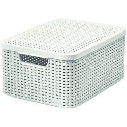Košík box s víkem - M - krémový CURVER