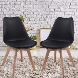 Sada jídelních židlí s plastovým sedákem, 2 ks, černá