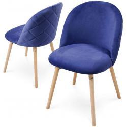 Sada jídelních židlí sametové, královská modrá, 2 ks