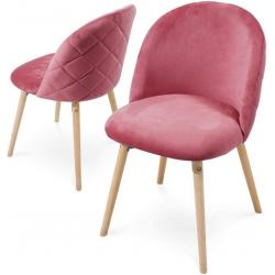 Sada jídelních židlí sametové, růžové, 2 ks