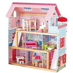 Dřevěný domeček pro panenky s LED světlem, 76 x 30 x 82 cm