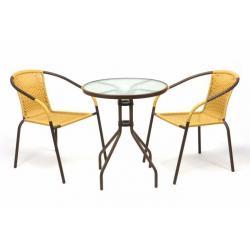 Zahradní balkonový set 2 židle + skleněný stůl