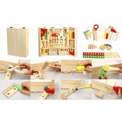 Nářadí dřevo s doplňky v dřevěném kufříku 21x30x8cm